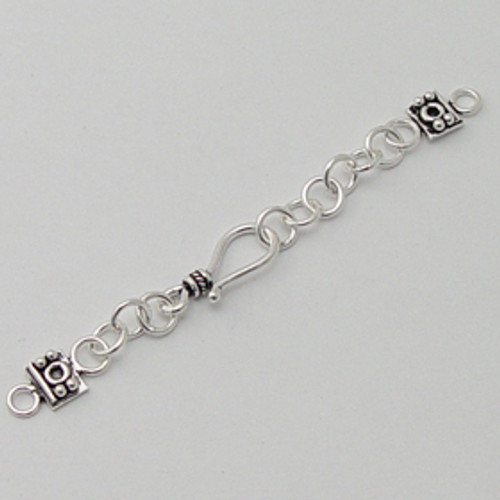 India Silver, Shepherd's Hook Clasp w/Extender Chain