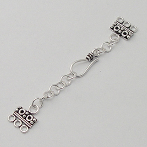 India Silver, 3-Hole Shepherd's Hook Clasp w/Extender Chain