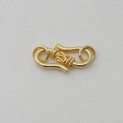 Vermeil, 9x20mm Decorative S-Hook Clasp