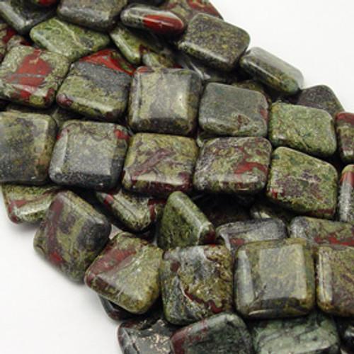 Dragons Blood Jasper Puff Square 20mm