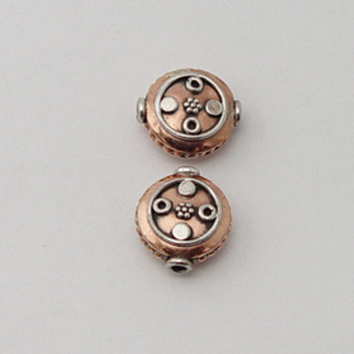 India Silver & Copper 7x13mm Decorative Coin Bead