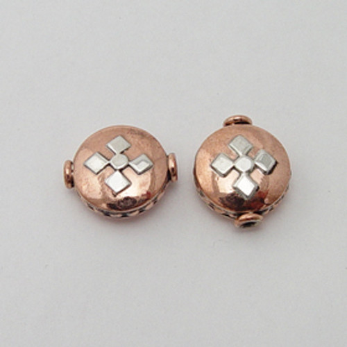 India Silver & Copper 7x13mm Embossed Coin Bead