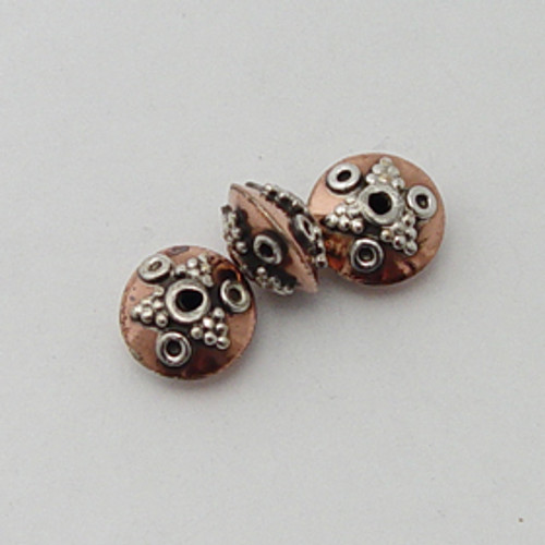 India Silver & Copper, 7x11mm Decorative Saucer Bead