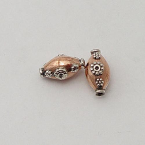 India Silver & Copper, 9x14mm Decorative Oval Bead