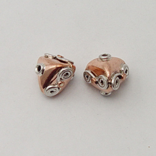 India Silver & Copper, 13x13mm Decorative Triangle Bead