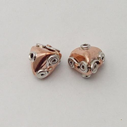 India Silver & Copper, 13x13mm Decorative Triangle Bead