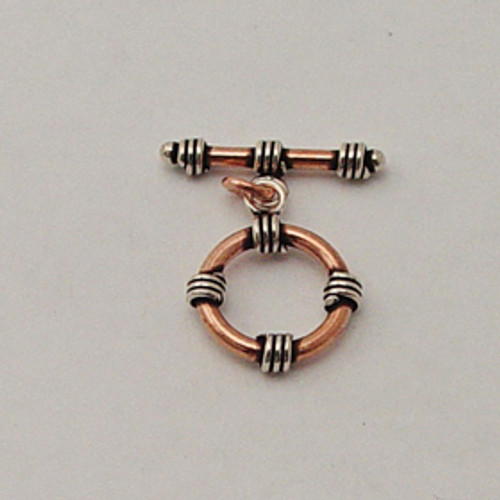 India Silver & Copper, 16mm Coiled Toggle