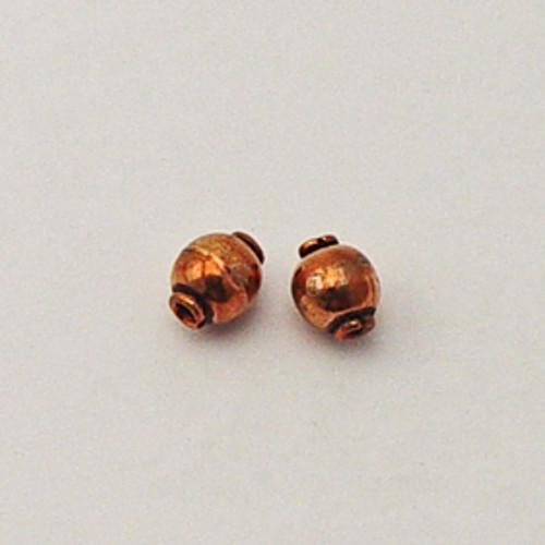 Copper, 7x8mm Barrel Bead w/Ring Lip