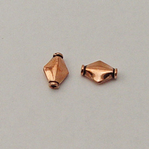Copper, 8x12mm Ridged Diamond Bead