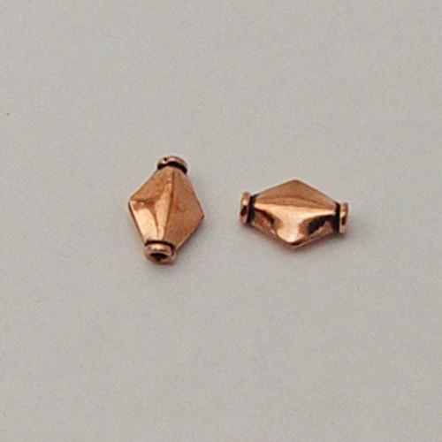 Copper, 8x12mm Ridged Diamond Bead