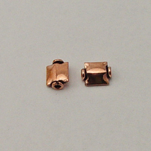Copper, 7x9mm Ridged Flat Square Bead