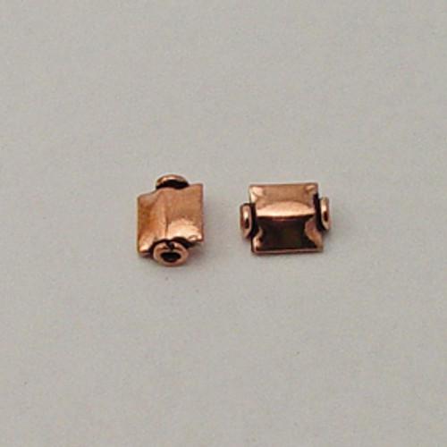 Copper, 7x9mm Ridged Flat Square Bead