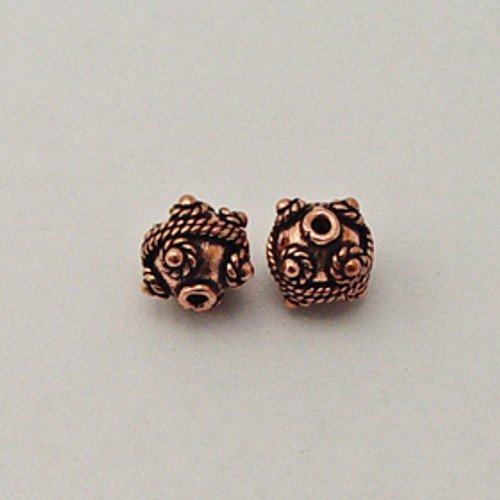 Copper, 11mm Decorated Round Bead