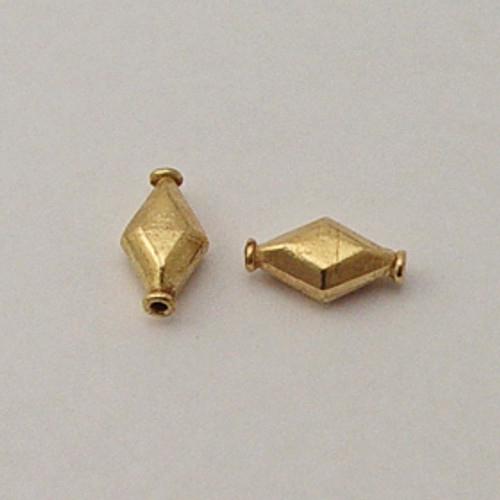 Brass, 6x10x17mm Puff Diamond Bead