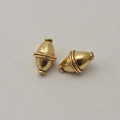 Brass, 10x15mm Bi-Cone Bead