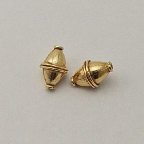 Brass, 10x15mm Bi-Cone Bead