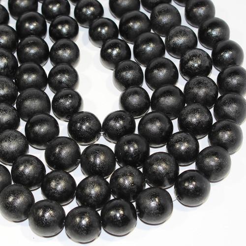 Black Wood Beads | Large Hole | 20mm | Dyed