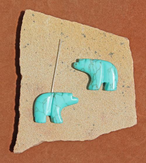 Block Kingman Turquoise Walking Bear Pendant