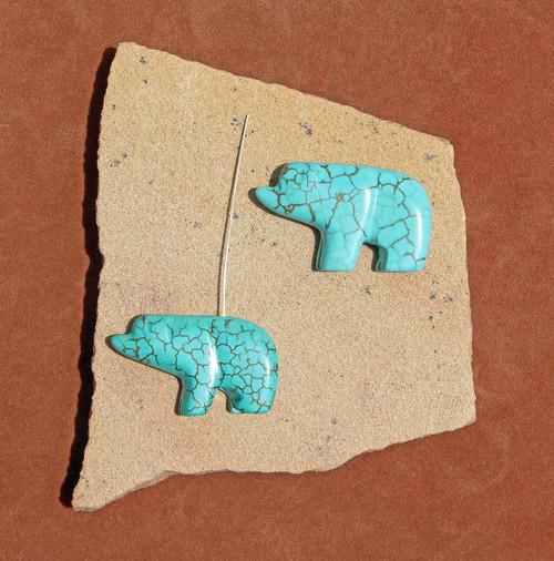 Dyed Magnesite Walking Bear Fetish Pendant