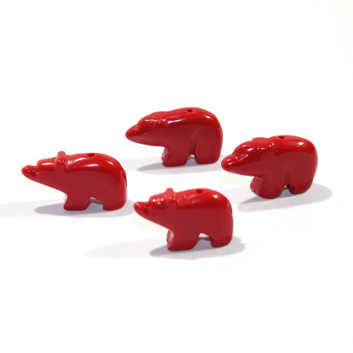 Red Stone Walking Bear Bead