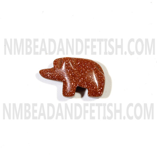 Gold Stone Walking Bear Bead