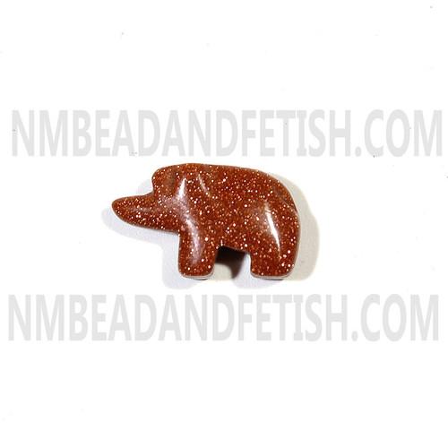 Gold Stone Walking Bear Bead