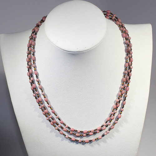 Rhodonite Triple Stand Necklace