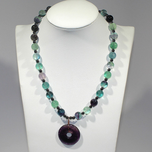 Princess Necklace w/Bracelet & Earrings   Rainbow Fluorite, Hematite and Copper   18 Inches
