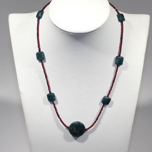 Princess Necklace   Apatite, Czech Glass and Silver   17.5 Inches
