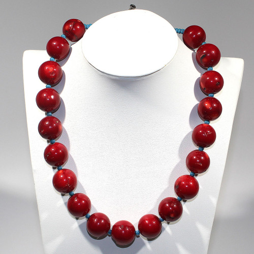 Princess Necklace   Bamboo Coral, Czech Glass and Silver   19 Inches