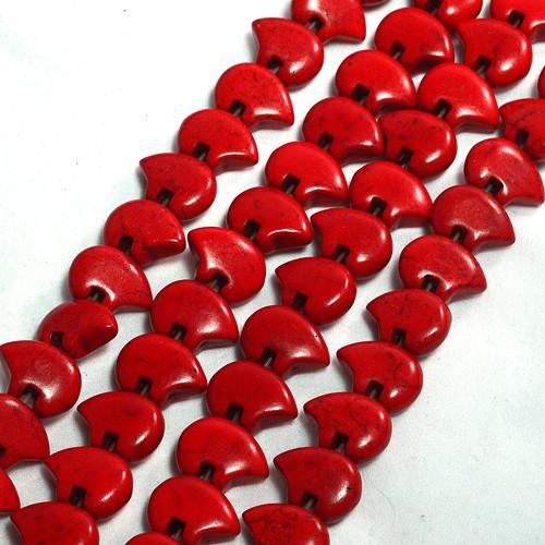Dyed Red Magnesite Zuni Bear Bead   13 x 18