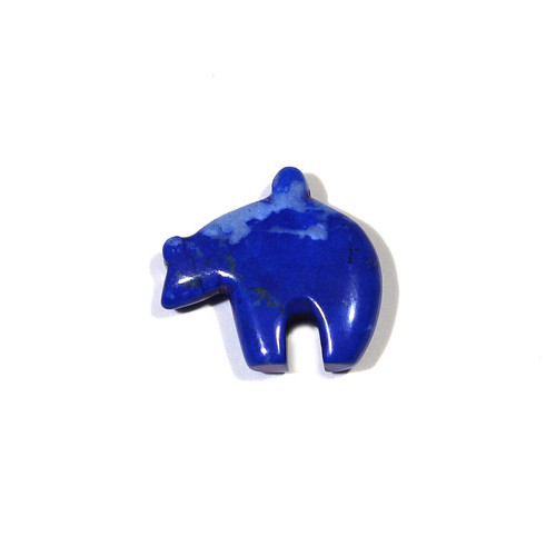 Lapis Howlite Zuni Bear Fetish Pendant