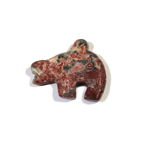 Leopard Skin Jasper Zuni Bear Fetish Pendant
