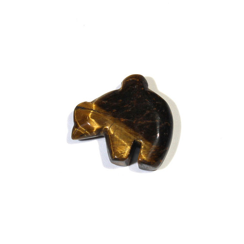 Tiger Eye Zuni Bear Fetish Pendant