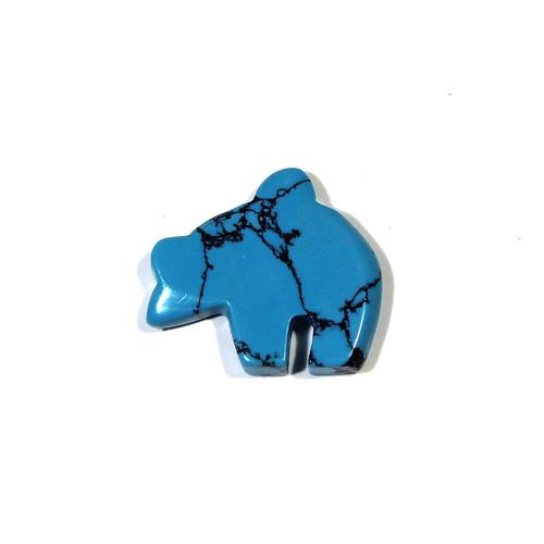 Synthetic Dark Matrix Turquoise Zuni Bear Pendant
