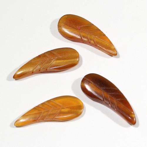 Golden Horn Leaf Beads | Small