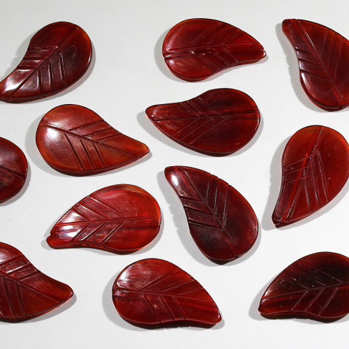 Red Horn Leaf Beads   Large