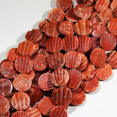 Red Scallop Shell Coin beads | $12.00 wholesale