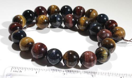 Tri-Color Tigers Eye 16MM | Red, Gold, Blue | $22.00 Wholesale