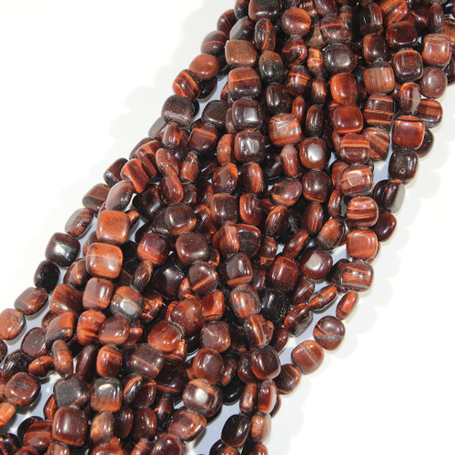 Red Tiger Eye | Puff Square 8mm  | $5.25 Wholesale