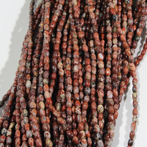 Red Breciated Jasper Rice Beads
