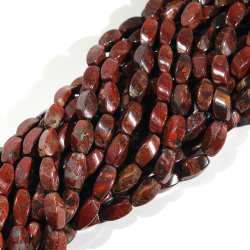 Brecciated Jasper | Rice - Quad Twist 9x15mm | Wholesale $10