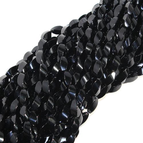 Black Agate | Rice - Quad Twist 9x15mm | Wholesale $5