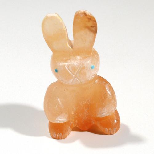 Standing Rabbit Fetish Carved By Brandon Phillips | Orange Alabaster