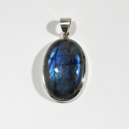 Oval Labradorite Pendant Wrapped in Sterling Silver
