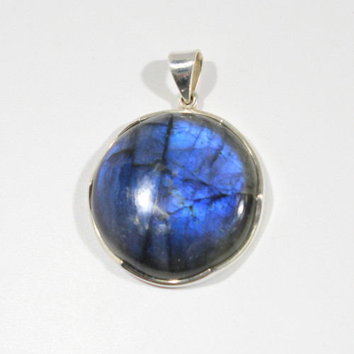 Round Labradorite Pendant Wrapped in Sterling Silver