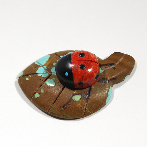 Ladybug on a Leaf by Georgette Lunasee | Turquoise, Coral, Black Marble