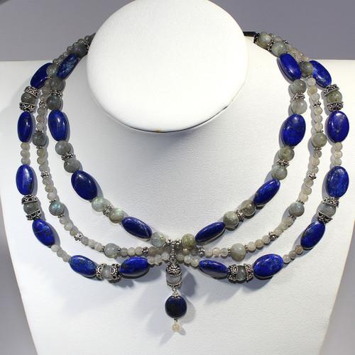 Festoon Choker   Labradorite, Lapis Lazuli and Silver   16 Inches