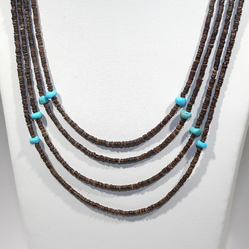 Princess 4-Strand Bib Necklace | Baby Olive Heishi and Sleeping Beauty Turquoise | 17.5 Inches