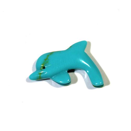 Block Kingman Turquoise Dolphin Fetish Pendant